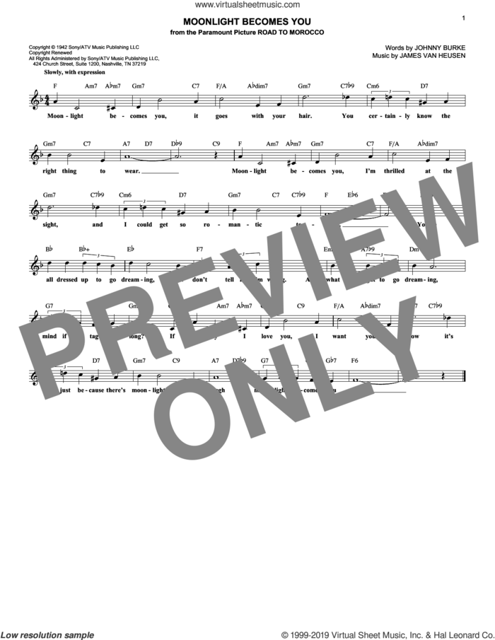Moonlight Becomes You sheet music for voice and other instruments (fake book) by Jimmy Van Heusen and John Burke, wedding score, intermediate skill level