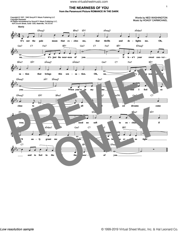 The Nearness Of You sheet music for voice and other instruments (fake book) by Hoagy Carmichael, George Shearing and Ned Washington, wedding score, intermediate skill level