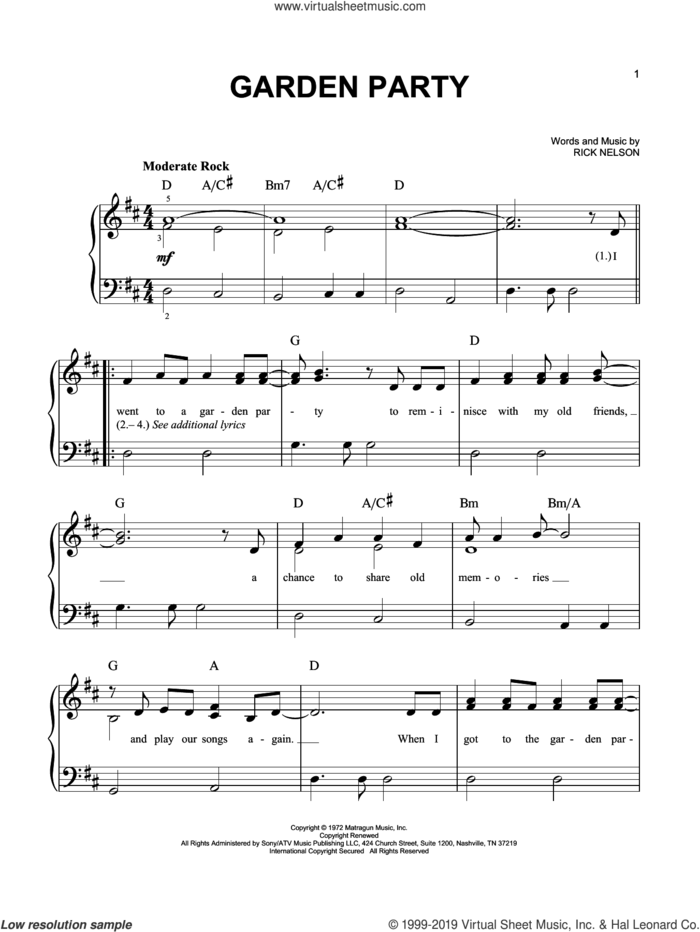 Garden Party sheet music for piano solo by Ricky Nelson, easy skill level