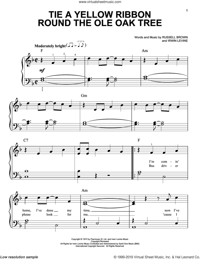 Tie A Yellow Ribbon Round The Ole Oak Tree sheet music for piano solo by Tony Orlando and Dawn, Dawn featuring Tony Orlando, Irwin Levine and L. Russell Brown, easy skill level