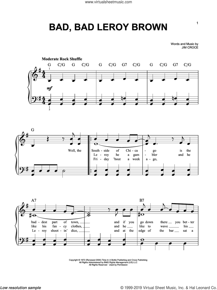 Bad, Bad Leroy Brown sheet music for piano solo by Jim Croce, easy skill level