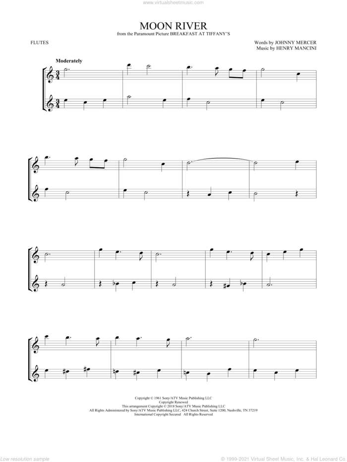 Moon River sheet music for two flutes (duets) by Andy Williams, Henry Mancini and Johnny Mercer, intermediate skill level