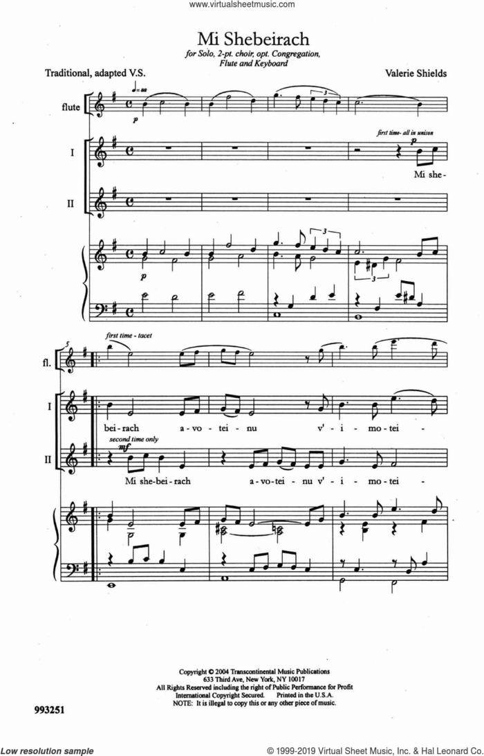 Mi Shebeirach sheet music for choir (2-Part) by Valerie Shields, intermediate duet