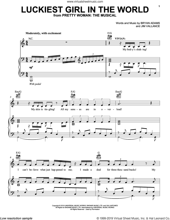 Luckiest Girl In The World (from Pretty Woman: The Musical) sheet music for voice, piano or guitar by Bryan Adams & Jim Vallance, intermediate skill level