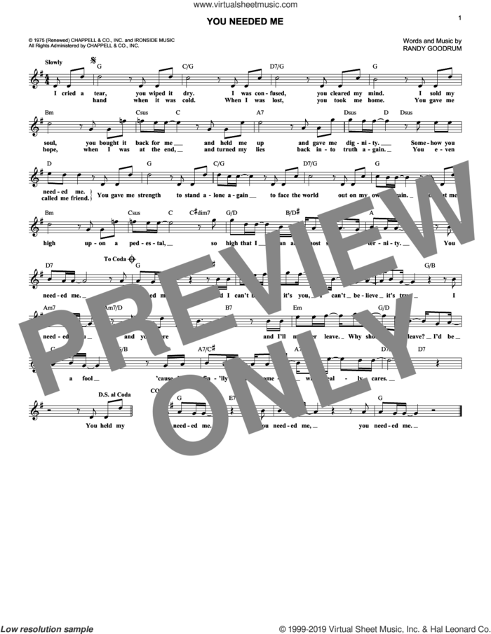 You Needed Me sheet music for voice and other instruments (fake book) by Randy Goodrum and Anne Murray, intermediate skill level