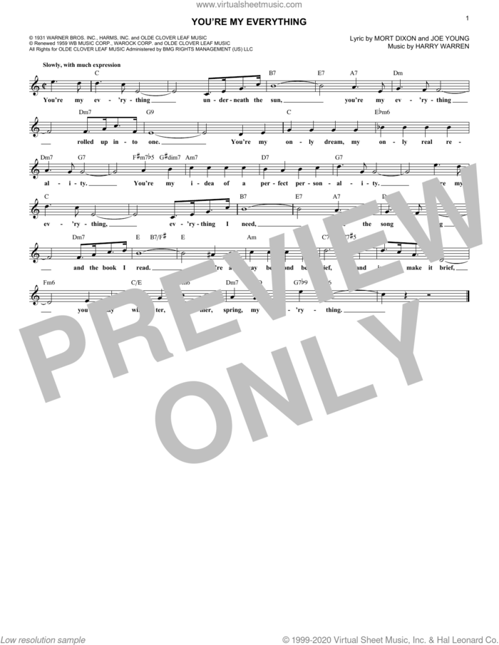 You're My Everything sheet music for voice and other instruments (fake book) by Harry Warren, Joe Young and Mort Dixon, intermediate skill level
