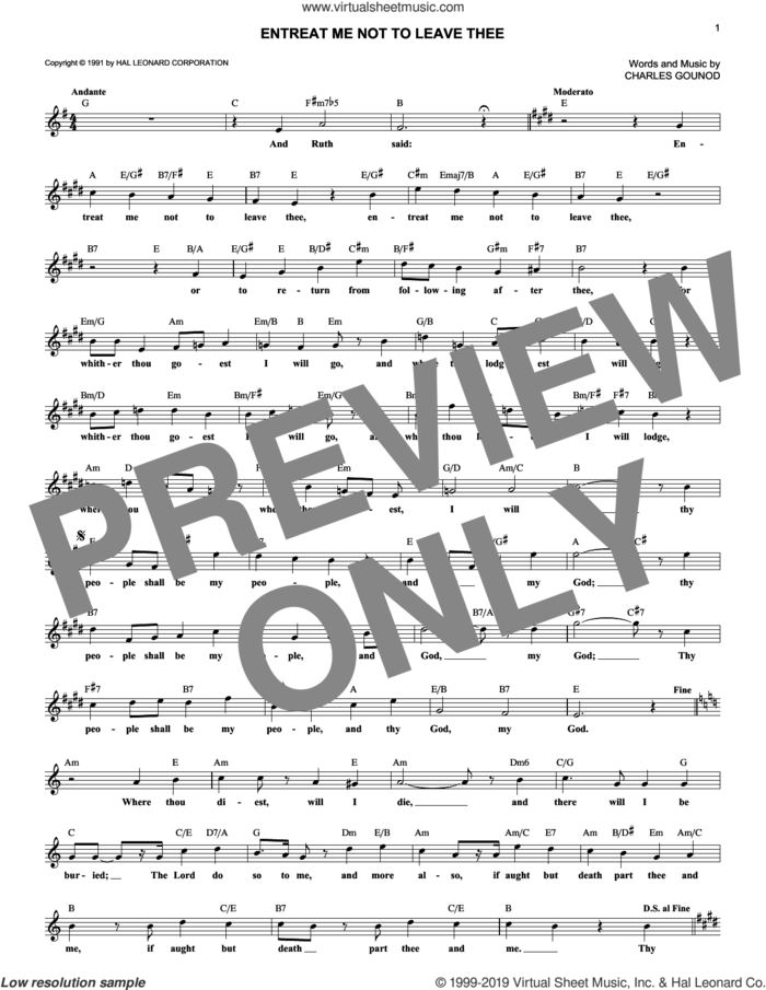 Entreat Me Not To Leave Thee sheet music for voice and other instruments (fake book) by Charles Gounod, classical wedding score, intermediate skill level