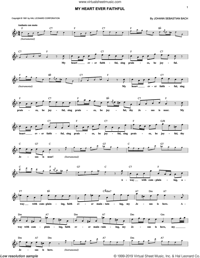 My Heart Ever Faithful sheet music for voice and other instruments (fake book) by Johann Sebastian Bach, classical wedding score, intermediate skill level