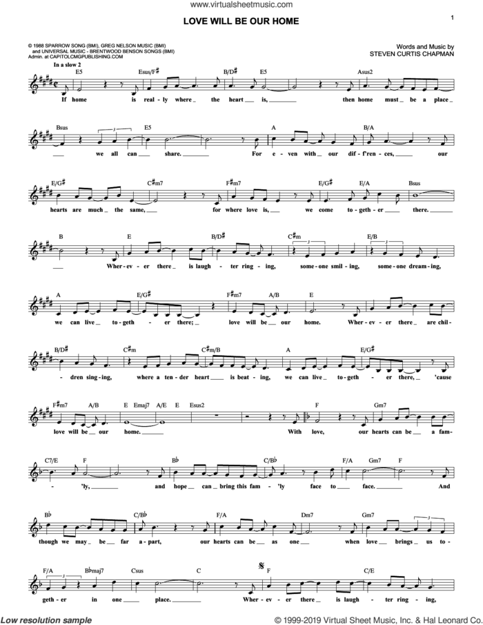 Love Will Be Our Home sheet music for voice and other instruments (fake book) by Steven Curtis Chapman and Sandi Patty, wedding score, intermediate skill level