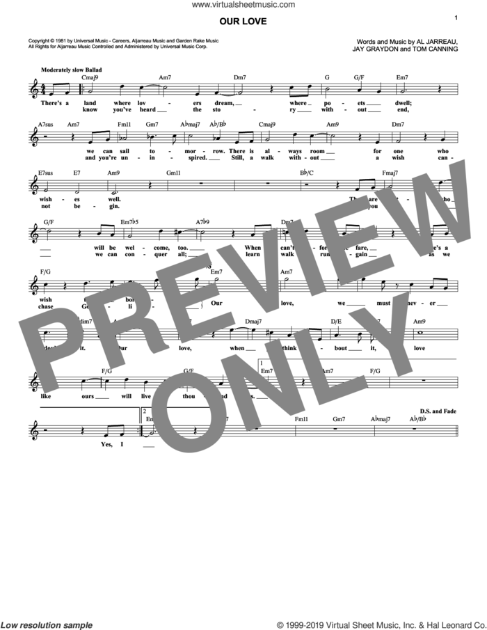 Our Love sheet music for voice and other instruments (fake book) by Jay Graydon, Al Jarreau and Tom Canning, intermediate skill level