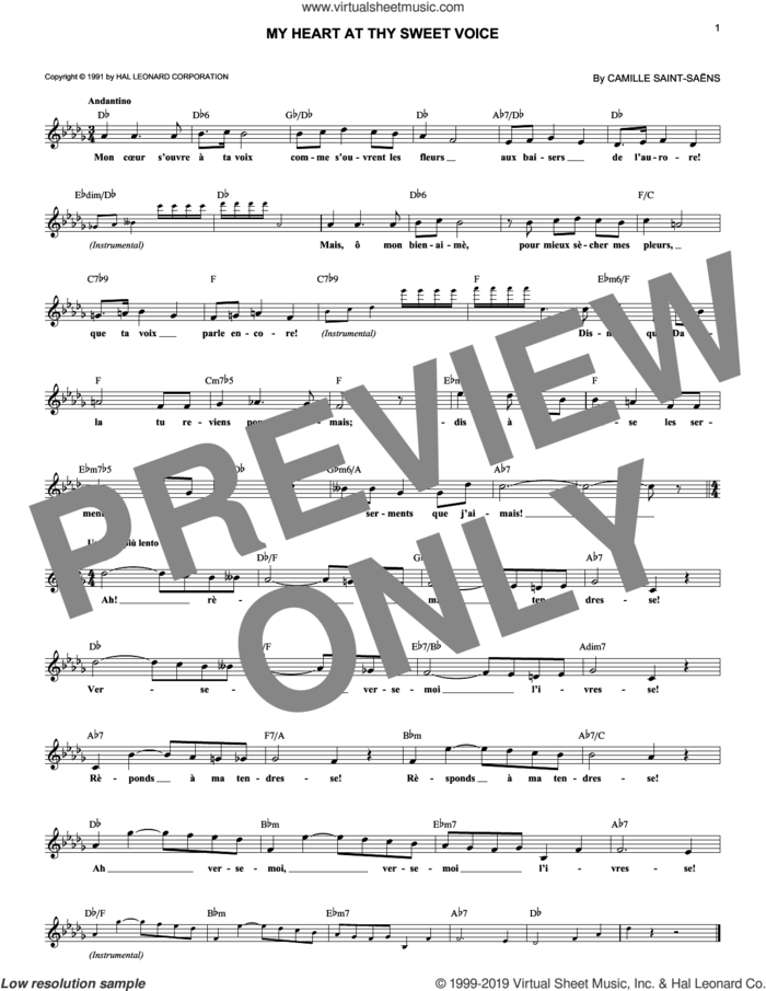 My Heart At Thy Sweet Voice sheet music for voice and other instruments (fake book) by Camille Saint-Saens, classical wedding score, intermediate skill level