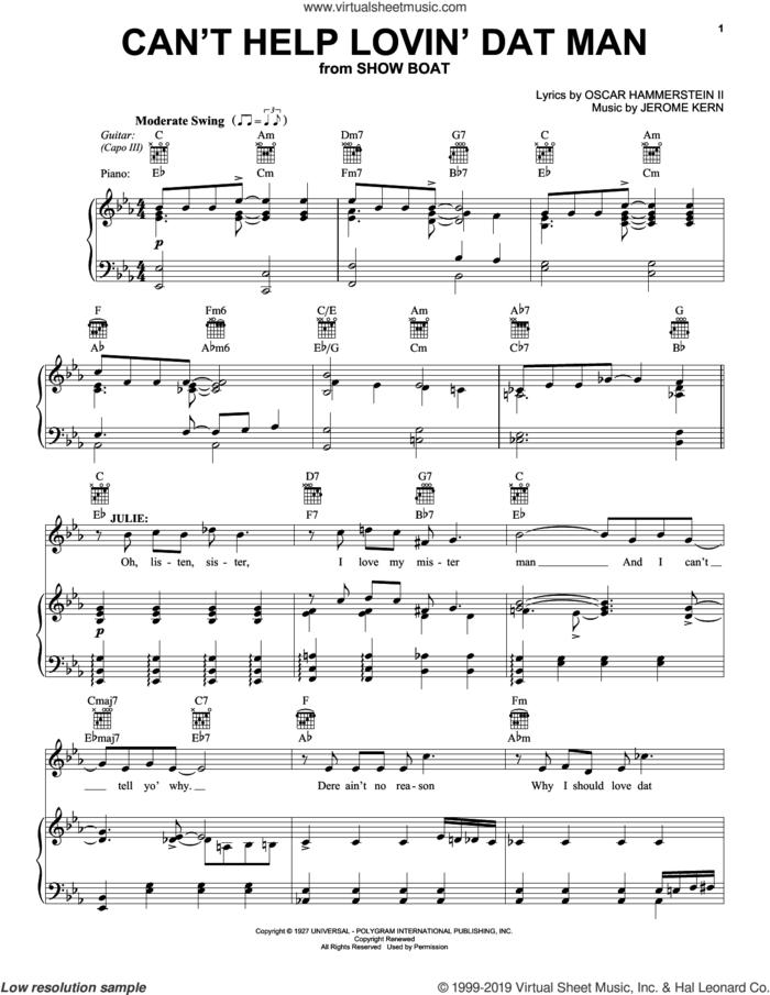 Can't Help Lovin' Dat Man sheet music for voice, piano or guitar by Oscar II Hammerstein, Annette Warren, Helen Morgan and Jerome Kern, intermediate skill level
