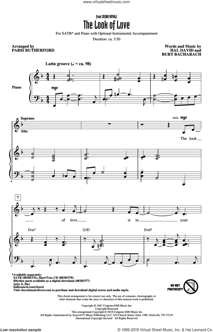 The Look Of Love sheet music for choir (SATB: soprano, alto, tenor, bass) by Burt Bacharach, Paris Rutherford and Hal David, intermediate skill level