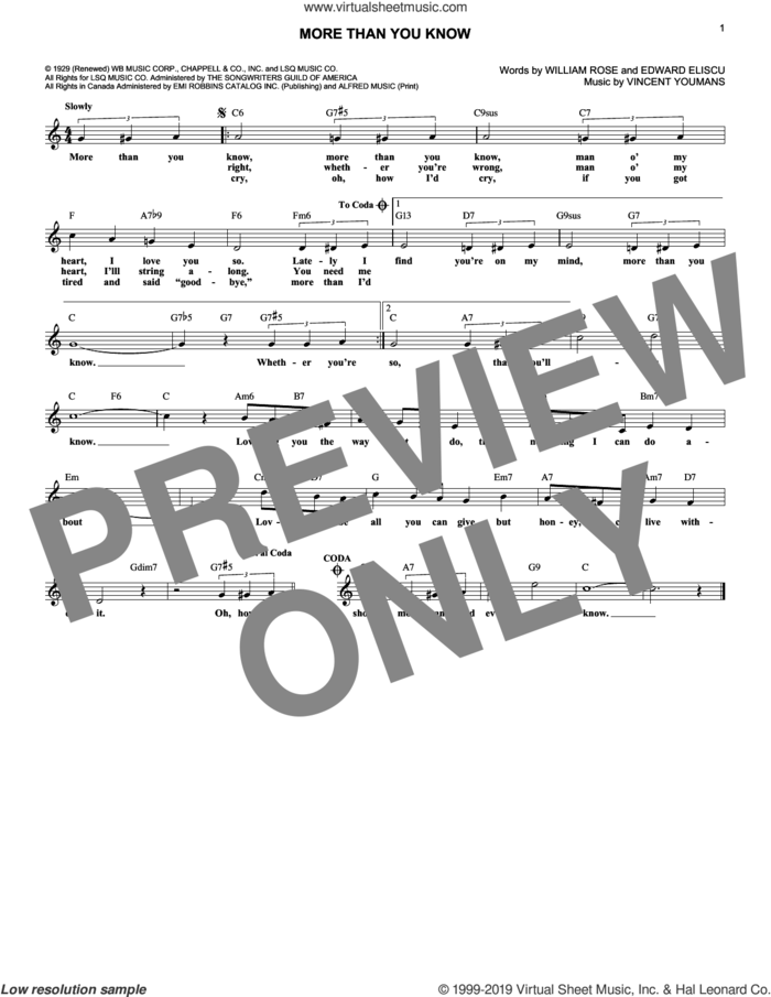 More Than You Know sheet music for voice and other instruments (fake book) by Vincent Youmans, Edward Eliscu and William Rose, intermediate skill level