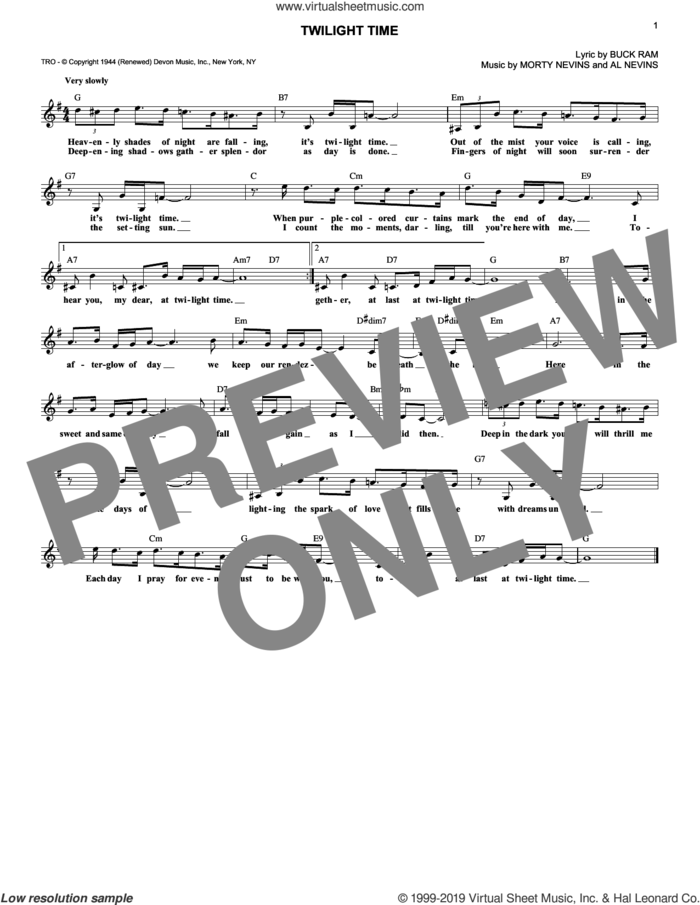 Twilight Time sheet music for voice and other instruments (fake book) by The Platters, Al Nevins, Buck Ram and Morty Nevins, intermediate skill level