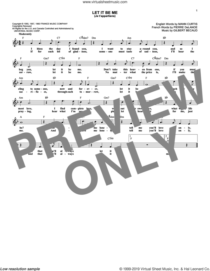 Let It Be Me (Je T'appartiens) sheet music for voice and other instruments (fake book) by Everly Brothers, Betty Everett & Jerry Butler, Elvis Presley, Gilbert Becaud, Mann Curtis and Pierre Delanoe, intermediate skill level