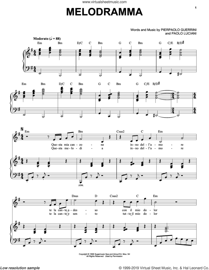 Melodramma sheet music for voice and piano by Andrea Bocelli, Paolo Luciani and Pierpaolo Guerrini, classical score, intermediate skill level