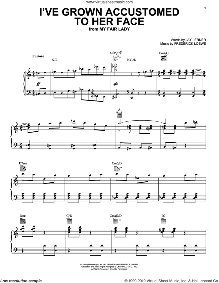 I've Grown Accustomed To Her Face sheet music for voice, piano or guitar by Alan Jay Lerner, Gordon MacRae, Rosemary Clooney and Frederick Loewe, intermediate skill level