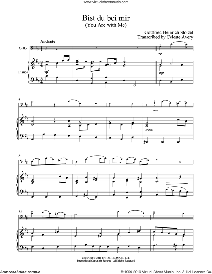 Bist du bei mir (You Are With Me) sheet music for cello and piano by Johann Sebastian Bach, classical wedding score, intermediate skill level
