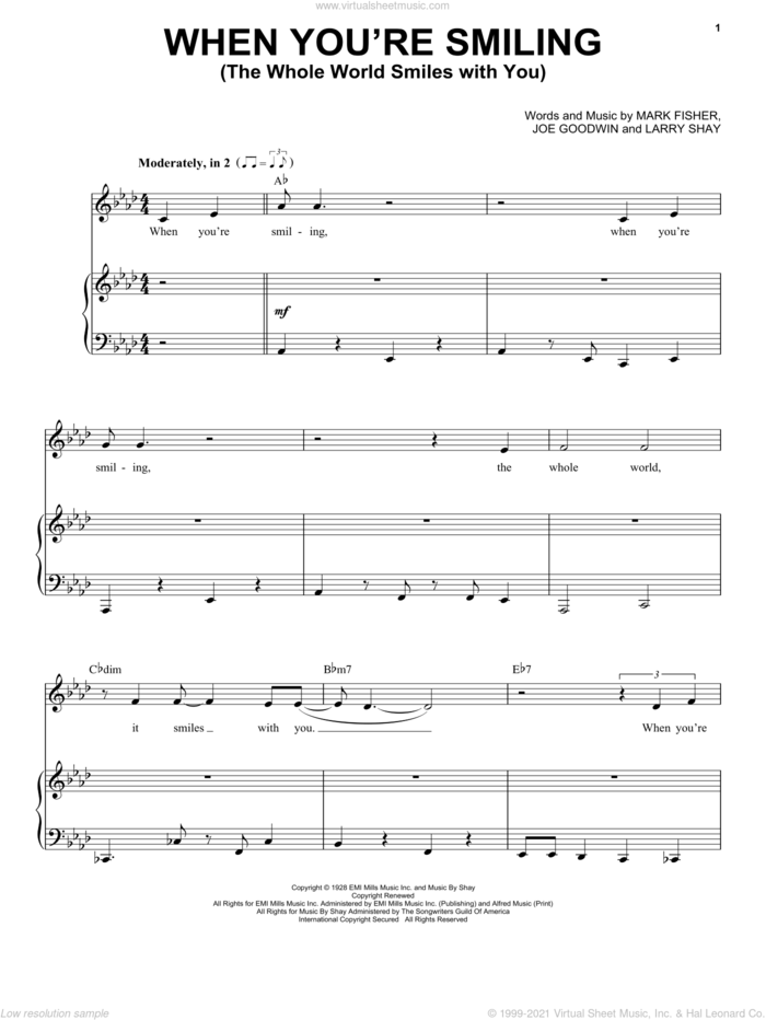 When You're Smiling sheet music for voice and piano by Michael Buble, Joe Goodwin, Larry Shay and Mark Fisher, intermediate skill level