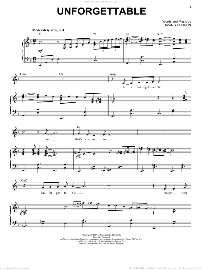 Unforgettable sheet music for voice and piano by Michael Buble and Irving Gordon, intermediate skill level
