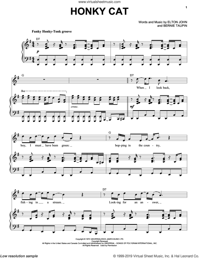 Honky Cat sheet music for voice and piano by Elton John and Bernie Taupin, intermediate skill level