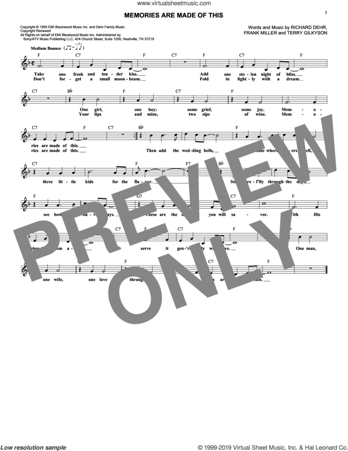 Memories Are Made Of This sheet music for voice and other instruments (fake book) by Dean Martin, Frank Miller, Richard Dehr and Terry Gilkyson, wedding score, intermediate skill level