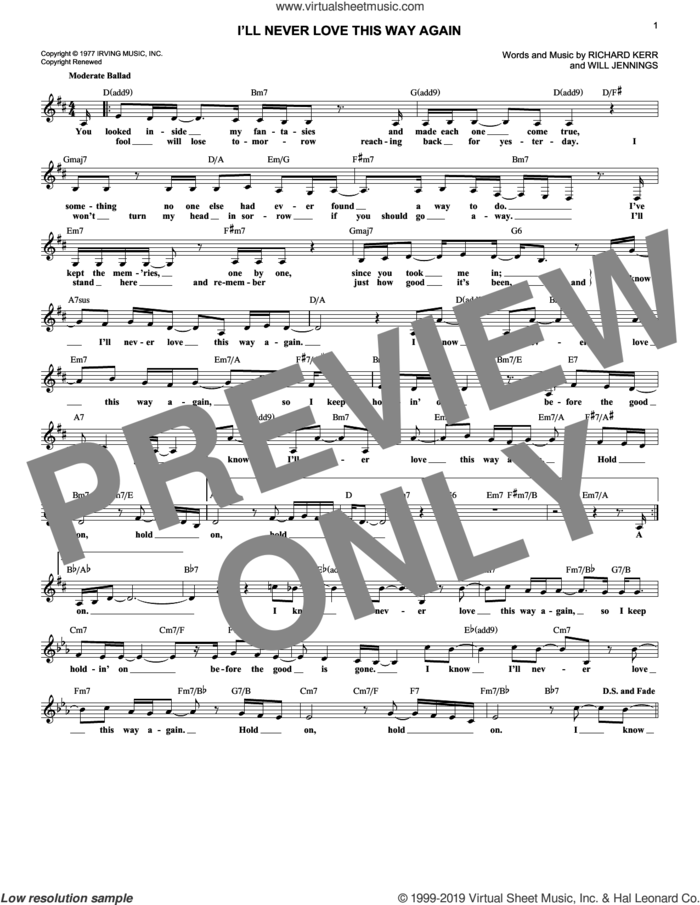 I'll Never Love This Way Again sheet music for voice and other instruments (fake book) by Dionne Warwick, Richard Kerr and Will Jennings, intermediate skill level