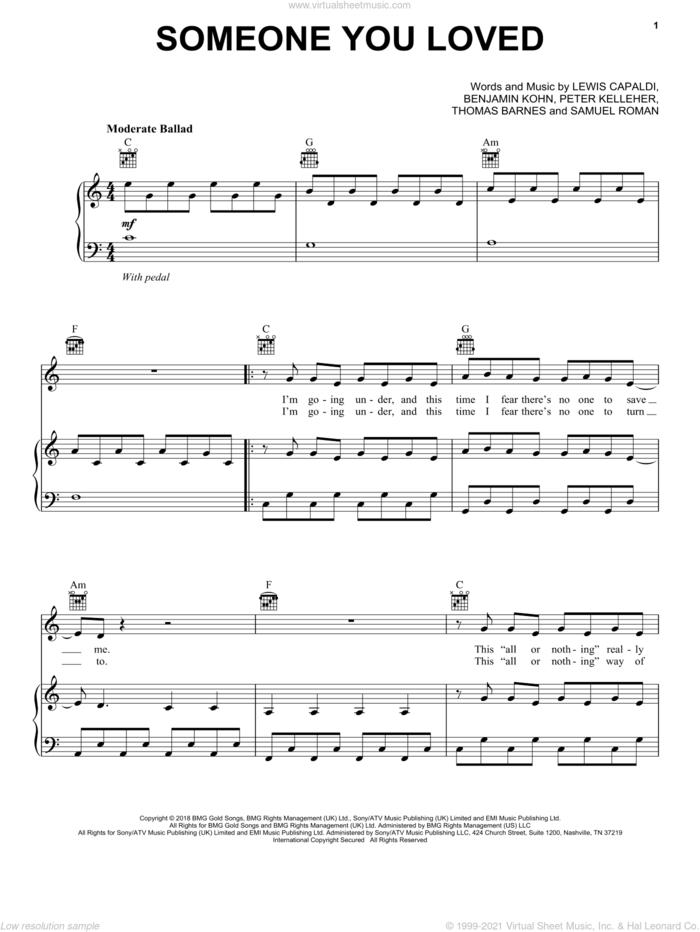 Someone You Loved sheet music for voice, piano or guitar by Lewis Capaldi, Benjamin Kohn, Peter Kelleher, Samuel Roman and Thomas Barnes, intermediate skill level