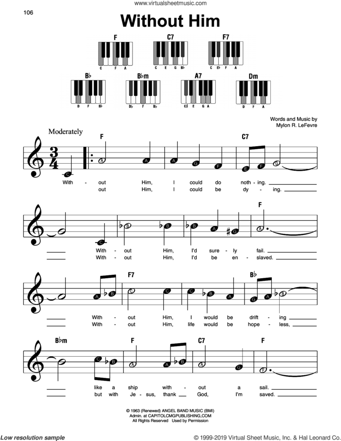Without Him sheet music for piano solo by Mylon R. LeFevre, beginner skill level