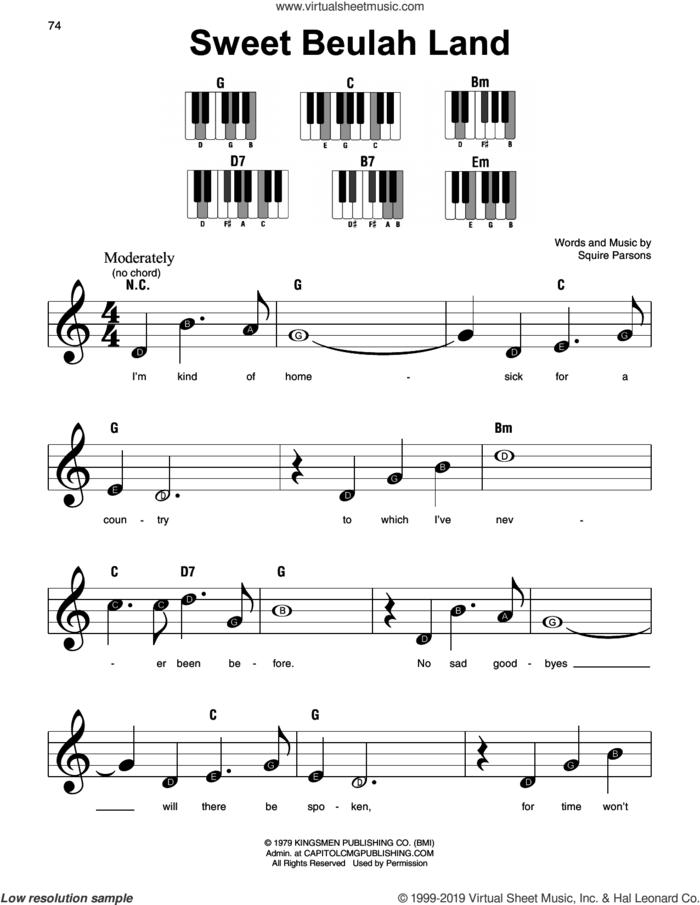 Sweet Beulah Land sheet music for piano solo by Squire Parsons, beginner skill level