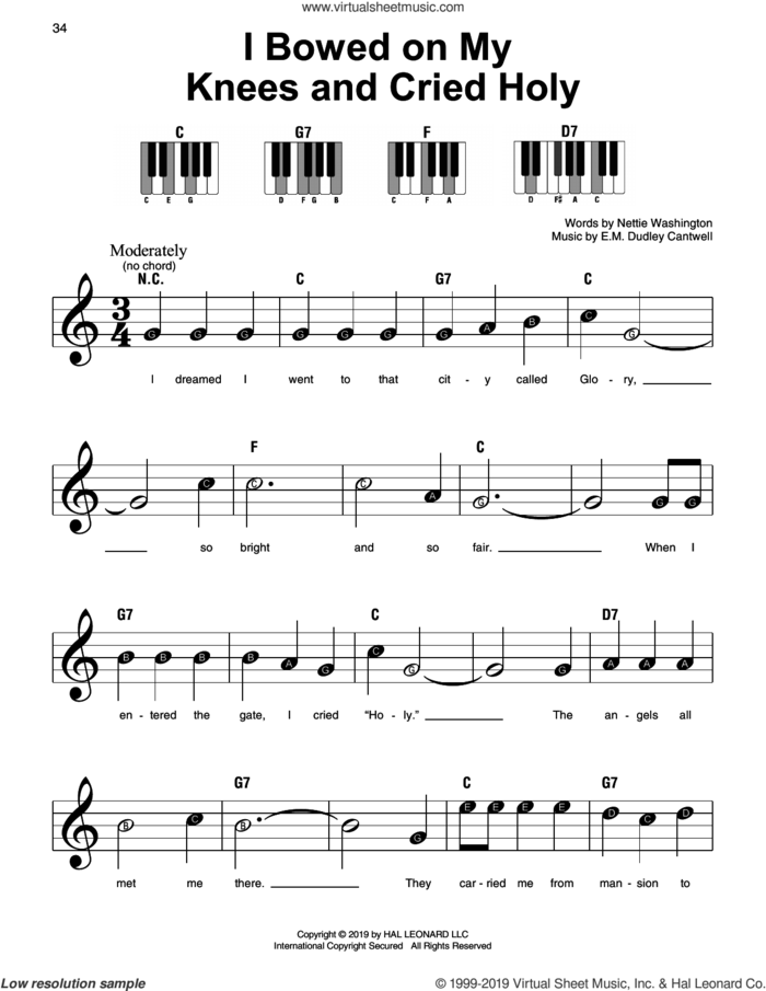 I Bowed On My Knees And Cried Holy, (beginner) sheet music for piano solo by E.M. Dudley Cantwell and Nettie Dudley Washington, beginner skill level