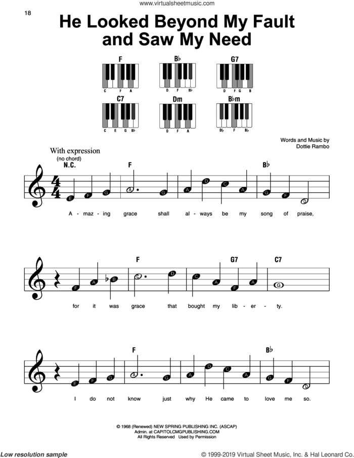 He Looked Beyond My Fault And Saw My Need, (beginner) sheet music for piano solo by Dottie Rambo, beginner skill level