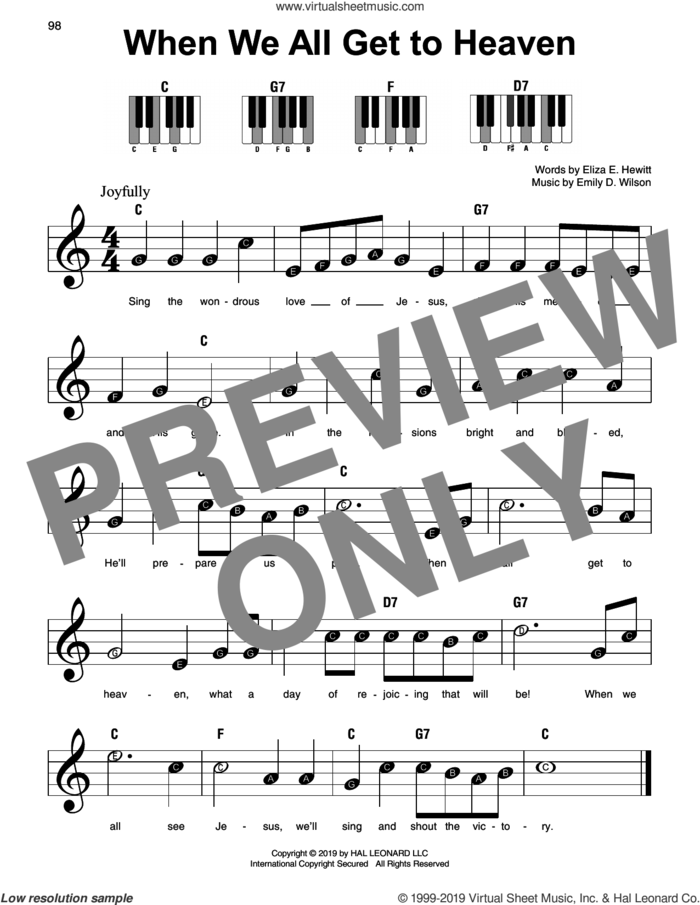 When We All Get To Heaven sheet music for piano solo by Emily D. Wilson and Eliza E. Hewitt, beginner skill level
