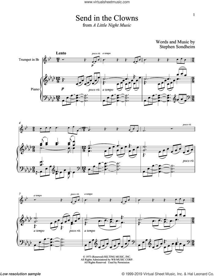 Send In The Clowns (from A Little Night Music) sheet music for trumpet and piano by Stephen Sondheim, intermediate skill level