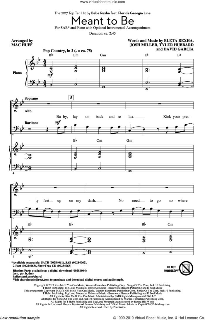 Meant To Be (feat. Florida Georgia Line) (arr. Mac Huff) sheet music for choir (SAB: soprano, alto, bass) by Bebe Rexha, Mac Huff, Bebe Rexha & Florida Georgia Line, Florida Georgia Line, Bleta Rexha, David Garcia, Josh Miller and Tyler Hubbard, intermediate skill level