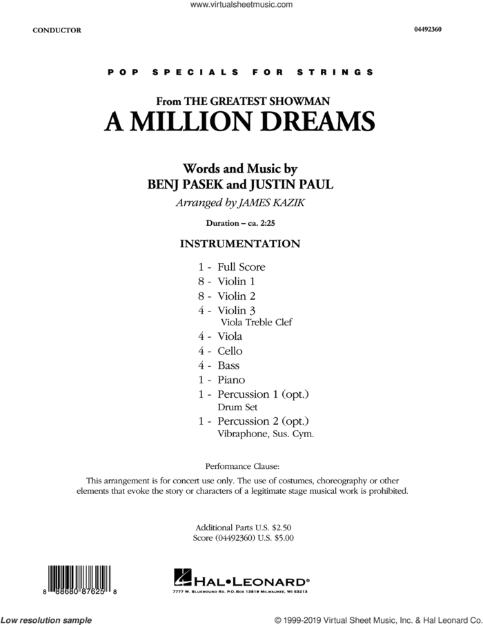 A Million Dreams (from The Greatest Showman) (arr. James Kazik) (COMPLETE) sheet music for orchestra by Pasek & Paul, Benj Pasek, James Kazik and Justin Paul, intermediate skill level