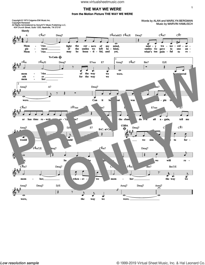 The Way We Were sheet music for voice and other instruments (fake book) by Barbra Streisand, Alan Bergman, Marilyn Bergman and Marvin Hamlisch, intermediate skill level