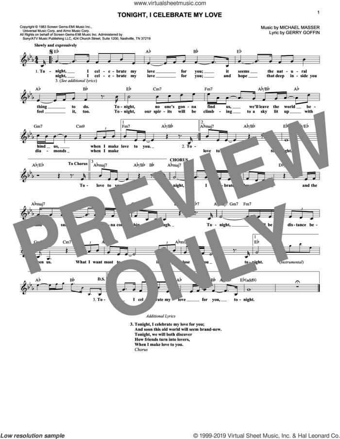 Tonight, I Celebrate My Love sheet music for voice and other instruments (fake book) by Peabo Bryson & Roberta Flack, Gerry Goffin and Michael Masser, intermediate skill level