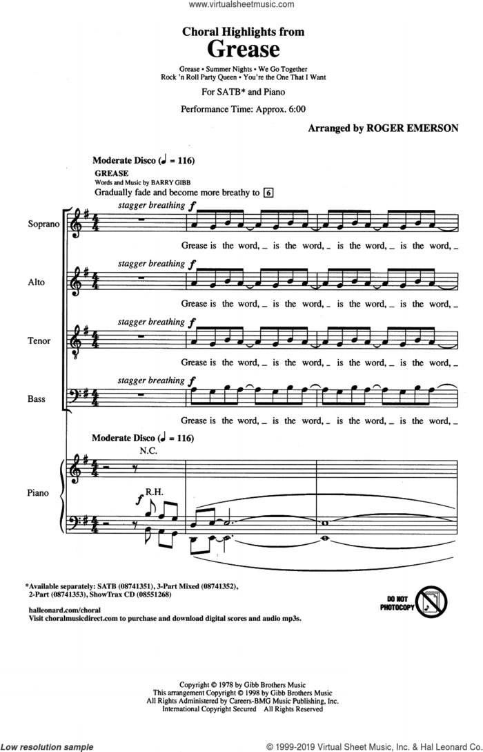 Choral Highlights from Grease sheet music for choir (SATB: soprano, alto, tenor, bass) by Barry Gibb, Roger Emerson and Frankie Valli, intermediate skill level