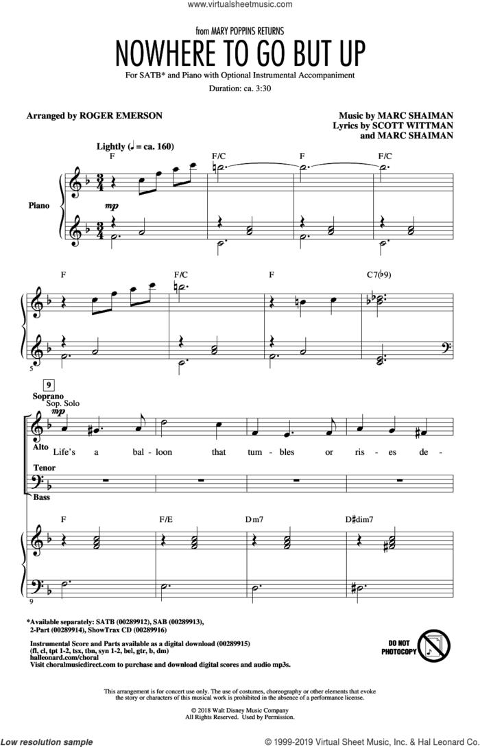 Nowhere To Go But Up (from Mary Poppins Returns) (arr. Roger Emerson) sheet music for choir (SATB: soprano, alto, tenor, bass) by Marc Shaiman, Roger Emerson, Angela Lansbury & Company, Marc Shaiman & Scott Wittman and Scott Wittman, intermediate skill level