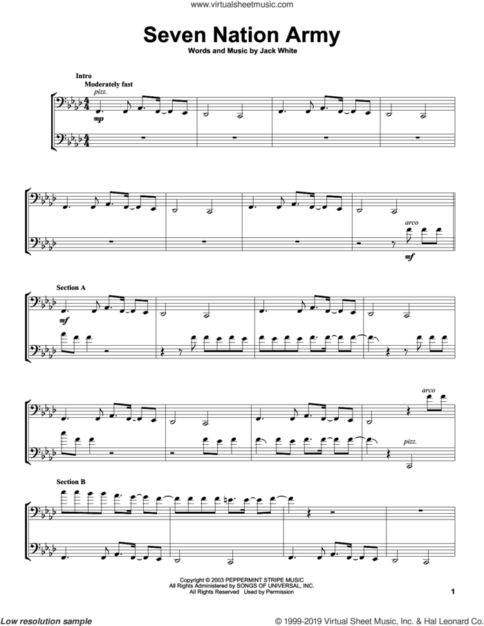 Seven Nation Army sheet music for two cellos (duet, duets) by 2Cellos, White Stripes and Jack White, intermediate skill level