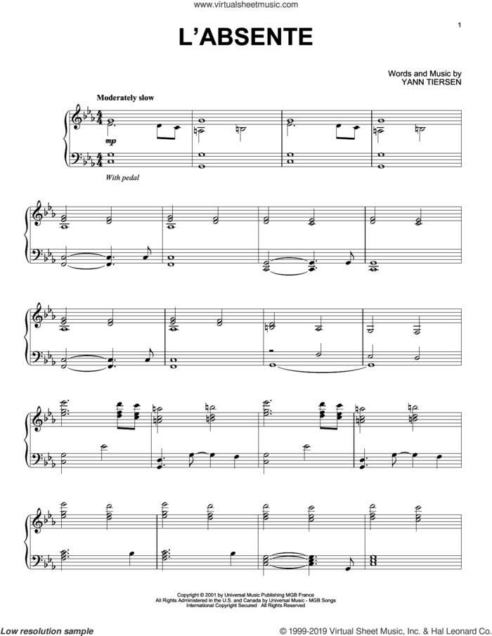 L'Absente sheet music for piano solo by Yann Tiersen, classical score, intermediate skill level