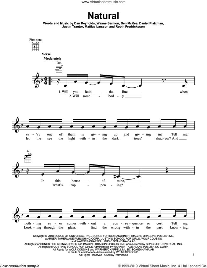 Natural sheet music for ukulele by Imagine Dragons, Ben McKee, Dan Reynolds, Daniel Platzman, Justin Tranter, Mattias Larsson, Robin Fredriksson and Wayne Sermon, intermediate skill level