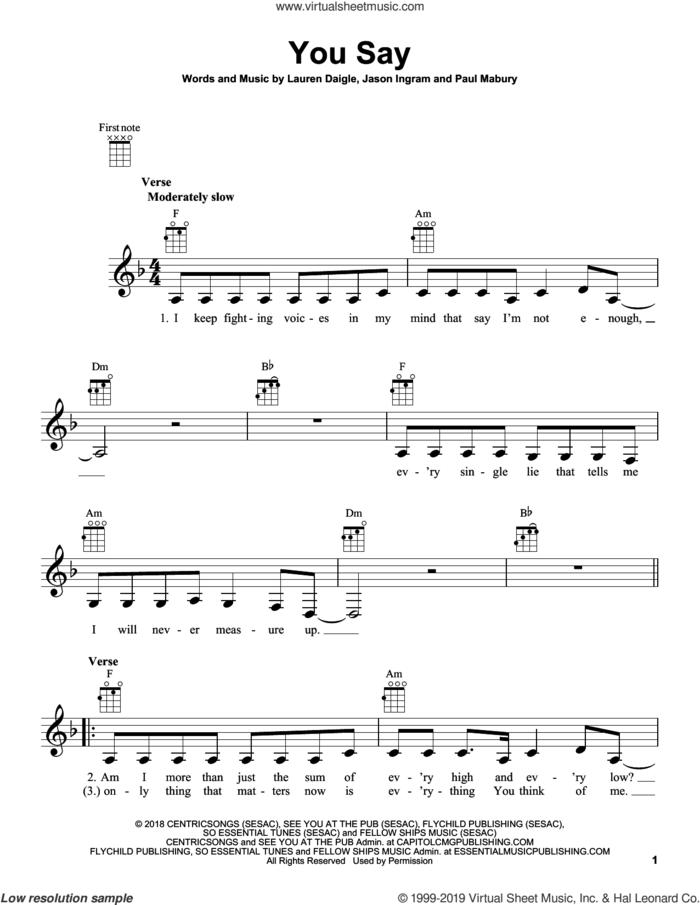 You Say sheet music for ukulele by Lauren Daigle, Jason Ingram and Paul Mabury, intermediate skill level