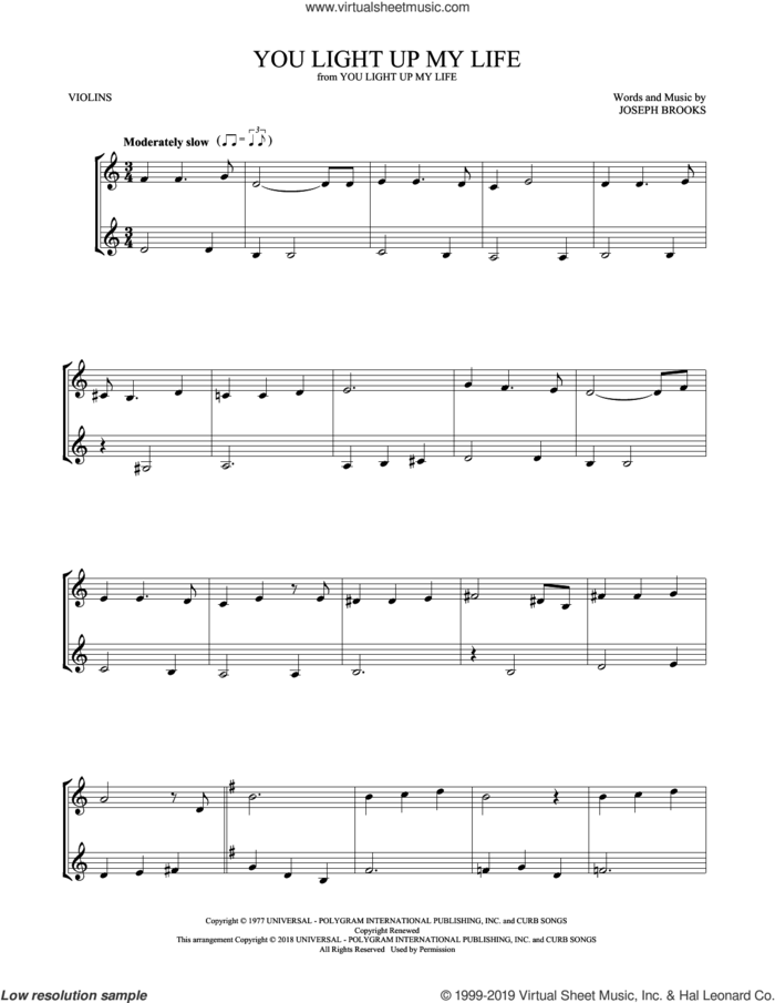 You Light Up My Life sheet music for two violins (duets, violin duets) by Debby Boone and Joseph Brooks, intermediate skill level