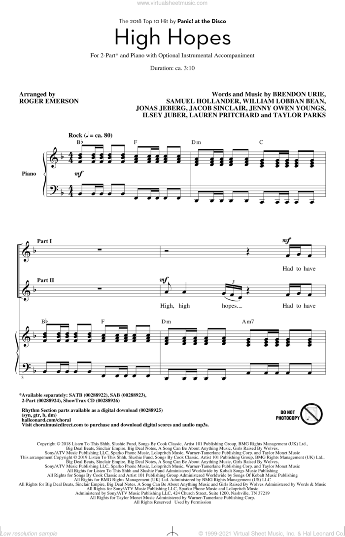 High Hopes (arr. Roger Emerson) sheet music for choir (2-Part) by Panic! At The Disco, Roger Emerson, Brendon Urie, Ilsey Juber, Jacob Sinclair, Jenny Owen Youngs, Jonas Jeberg, Lauren Pritchard, Sam Hollander, Taylor Parks and William Lobban Bean, intermediate duet