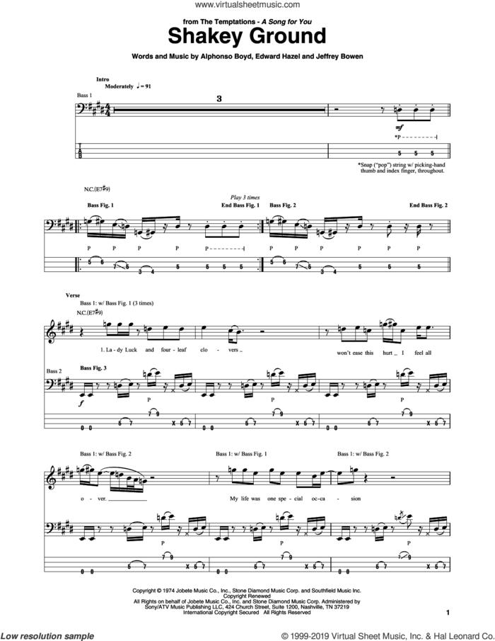 Shakey Ground sheet music for bass (tablature) (bass guitar) by Elton John, Alphonso Boyd, Edward Hazel and Jeffrey Bowen, intermediate skill level