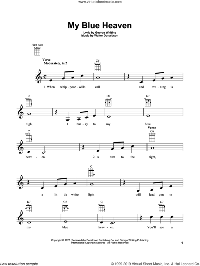 My Blue Heaven sheet music for ukulele by Walter Donaldson and George Whiting, intermediate skill level
