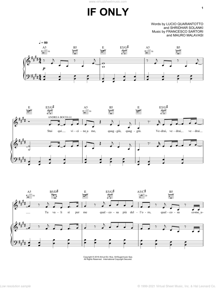 If Only (feat. Dua Lipa) sheet music for voice, piano or guitar by Andrea Bocelli, Francesco Sartori, Lucio Quarantotto, Mauro Malavasi and Shridhar Solanki, intermediate skill level